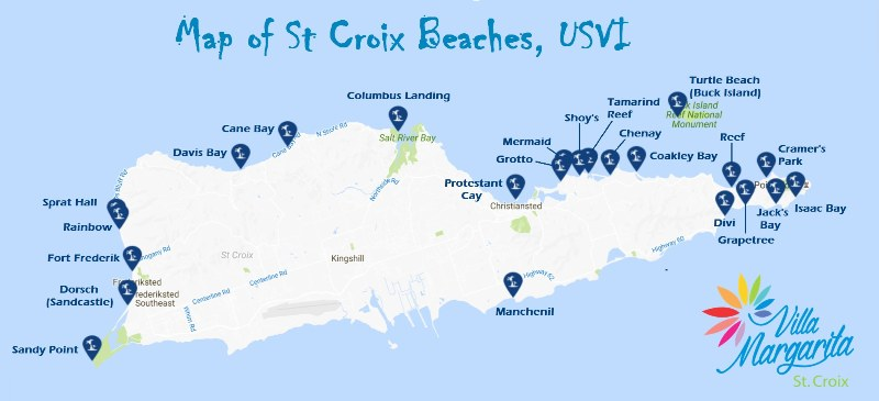 st croix beaches map us virgin islands usvi