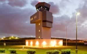 Control tower at night of the Henry E Rohlson airport St Croix Airport code STX US Virgin Islands